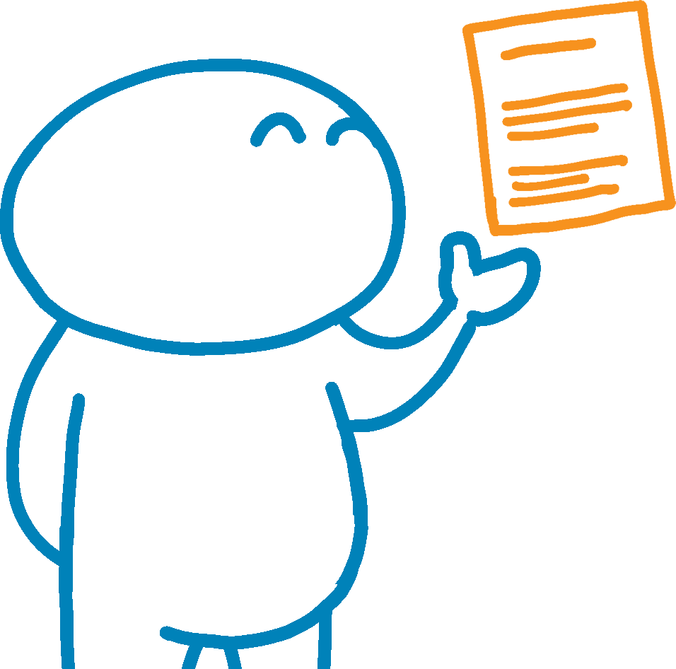 Illustration of person holding up a sheet of paper
